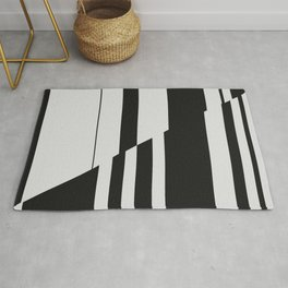 Geometric Abstract #10 Black and White Stripes Rug