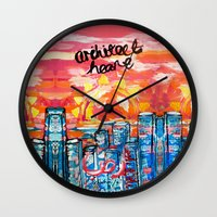 architect Wall Clocks featuring Architect Heart by Anwar B