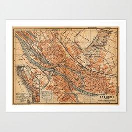 Vintage Map of Bremen Germany (1910) Art Print