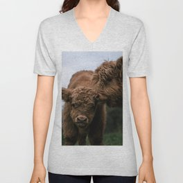 Scottish Highland Cattle Calves - Babies playing Unisex V-Neck