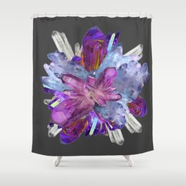 CRYSTALLINE RADIATING CLUSTER OF AMETHYST & QUARTZ Shower Curtain
