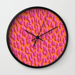 Bright Orange & Pink Leopard Print Wall Clock