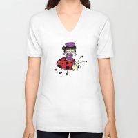 ladybug V-neck T-shirts featuring Ladybug by flydesign