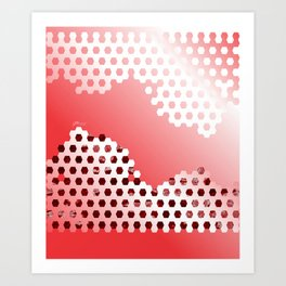 Soccer Pattern 7 - Red/White/Black Art Print