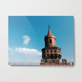 Blue sky and gothic tower in train station in Berlin, Germany Metal Print