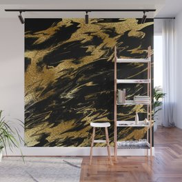 Luxury and sparkle gold glitter and black marble Wall Mural