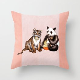 Friends & Noodles  Throw Pillow