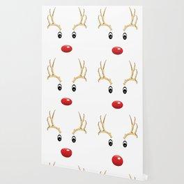 Cute Christmas Santa's Reindeer Rudolph Holiday Costume Face Wallpaper