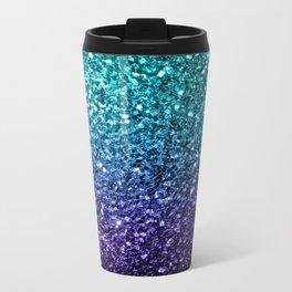 Beautiful Aqua blue Ombre glitter sparkles Metal Travel Mug