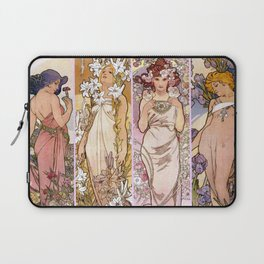 """Alfons Mucha, """" four flowers """" Laptop Sleeve"""
