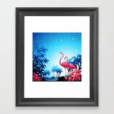 Pink Flamingos on Blue Tropical Landscape Framed Art Print