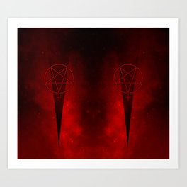 Devil Woman Pentagram Art Print