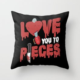 Scary Horror Movie Love You To Pieces Heart Chain Saw Throw Pillow