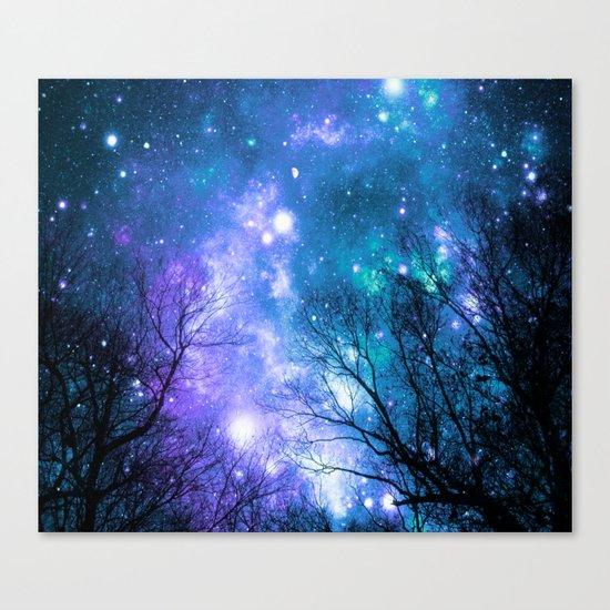 Black Trees Violet Teal Space Canvas Print