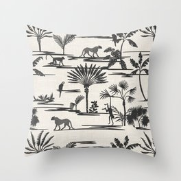 JUNGLE THRIVE BLACK Throw Pillow