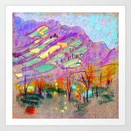 Arthur Bowen Davies Landscape with Purple Mountains Art Print