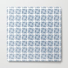 Classic Blue and Silver Ribbons on White Pattern Metal Print