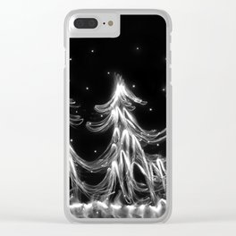 White Christmas Snow and Christmas Tree light painting Clear iPhone Case