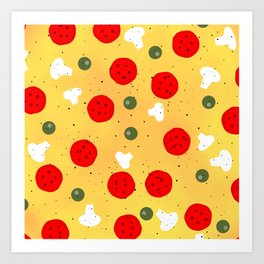 Cool fun pizza pepperoni mushroom Art Print