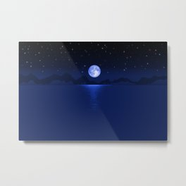 Morning Blue Moon Reflection Metal Print