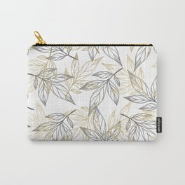 Hand drawn black white faux gold leaves illustration Carry-All Pouch