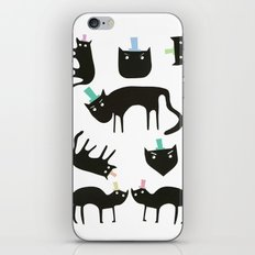 Little cats in colourful hats iPhone & iPod Skin