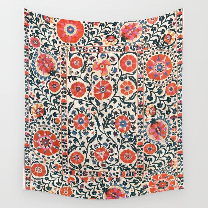 Shakhrisyabz Suzani  Uzbekistan Antique Floral Embroidery Print Wall Tapestry
