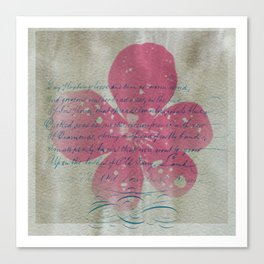 Pink flower and blue text Canvas Print