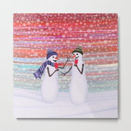 snowmen with popsicles Metal Print