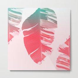 Dreamy Salmon Pink Tropical Banana Leaves Metal Print
