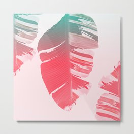 Dreamy Salmon Pink Tropical Banana Leaves Metal Print