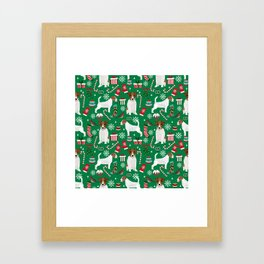 Jack Russell Terrier christmas festive holiday red and green dog lover gifts Framed Art Print