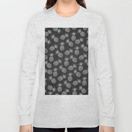 Tropical modern black gray pineapple fruit pattern Long Sleeve T-shirt