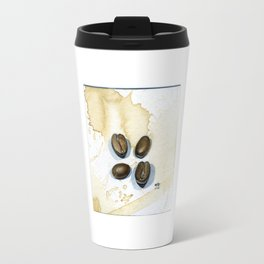 Four Coffee Beans Watercolor on Coffee-Stained Paper Travel Mug