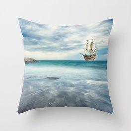 Ship at Sea Throw Pillow