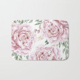 Girly Pastel Pink Roses Garden Bath Mat