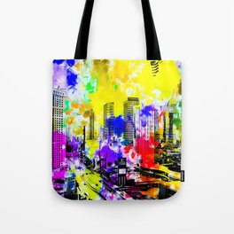 building of the hotel and casino at Las Vegas, USA with blue yellow red green purple painting abstra Tote Bag