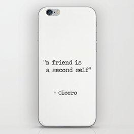 "Marcus Tullius Cicero ""a friend is a second self"" iPhone Skin"