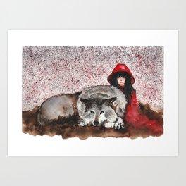 Caperucita Roja y el Lobo Art Print