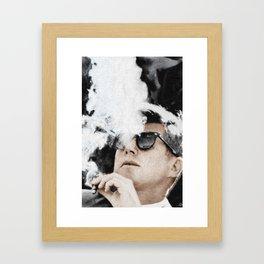 Cigar Smoker Cigar Lover JFK Gifts Black And White Photo Tee Shirt Framed Art Print