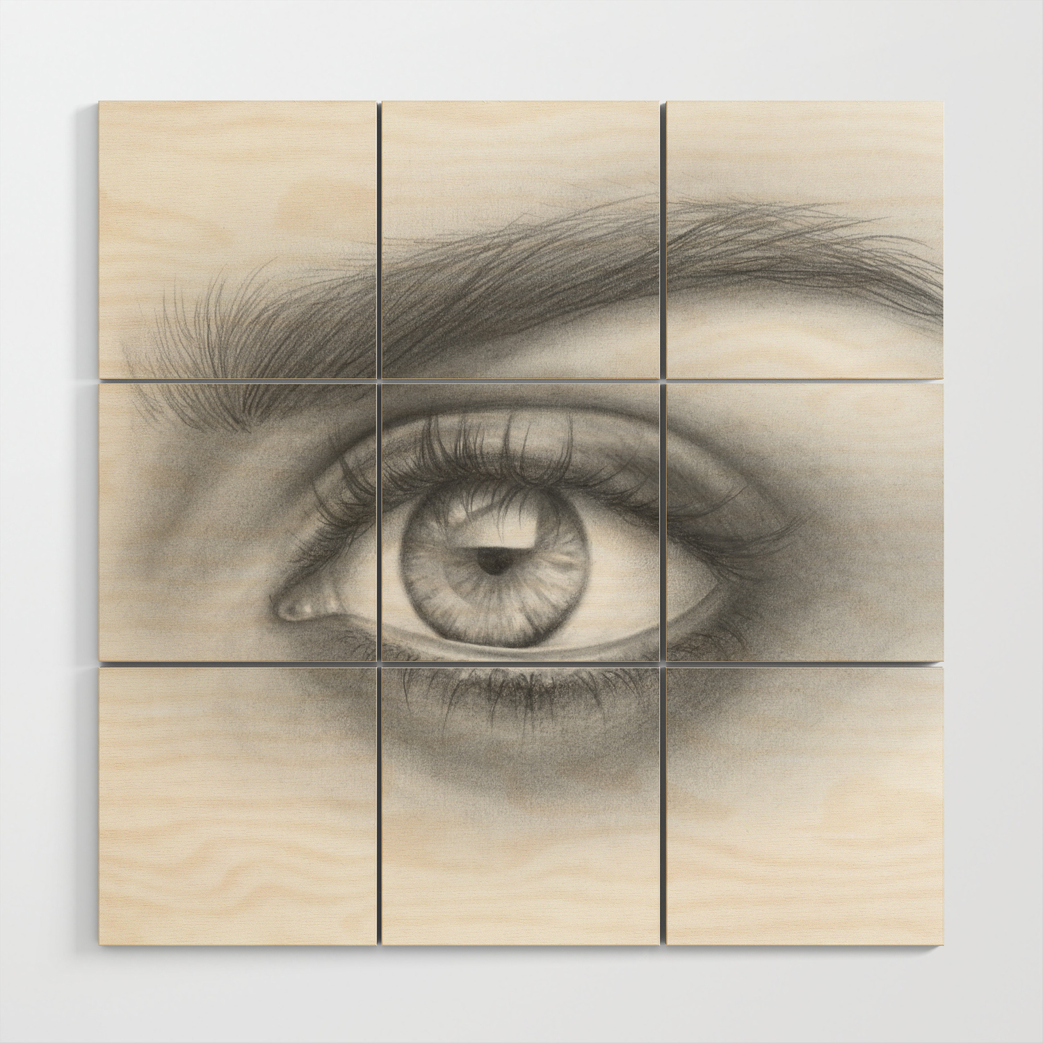 Eye art sexy girl beauty model woman face graphite drawing pencil black and white art wood wall art by magdaopoka