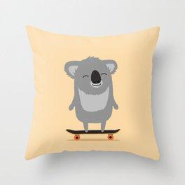 Cute cartoon koala skateboarding Throw Pillow