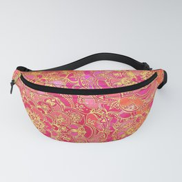 Hot Pink and Gold Baroque Floral Pattern Fanny Pack