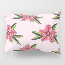 Old school tattoo flower pattern in pink Pillow Sham