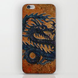 Blue Chinese Dragon on Stone Background iPhone Skin
