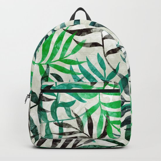 Watercolor Tropical Palm Leaves II Backpack