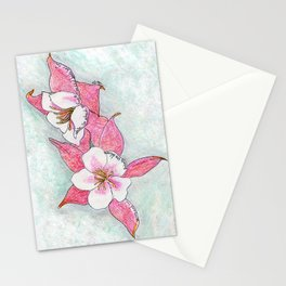 Red Columbines Stationery Cards