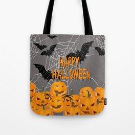 Pumpkins Happy Halloween Illustration Tote Bag