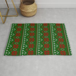 Knitted Christmas pattern red green 3 Rug