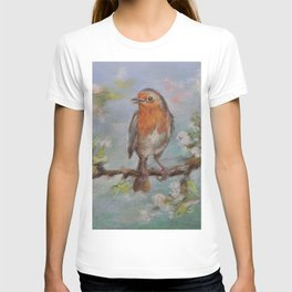 Red Robin Small bird on a blooming twig Wildlife spring scene Pastel drawing T-shirt